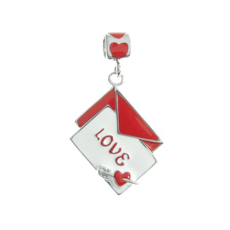 Rhodium on Sterling Silver Valentine Love Letter Mail Red White Enamel Dangle European Bead Charm Fits Pandora ()