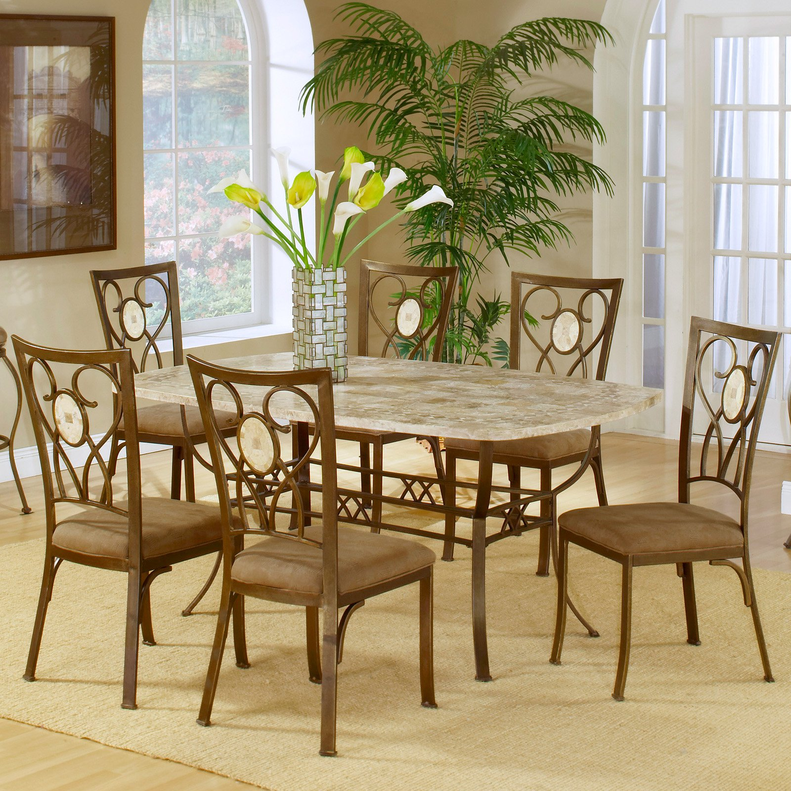 Superb Hillsdale Brookside 5 Piece Rectangle Dining Set With Oval Back Chairs Brown  Powder Coat   Walmart.com