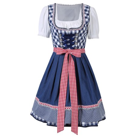 3pcs Women's Traditional Dirndl Set - Dress, Blouse, Apron for Oktoberfest Carnival Theme Party