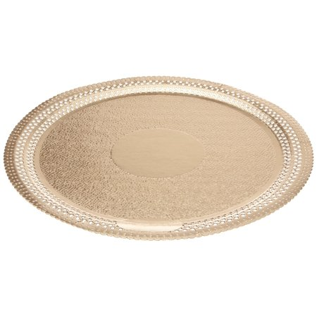 Thunder Group 1810, 10 1/2-Inch Dia Melamine Gold Orchid Lotus Shape Plate, 12/CS