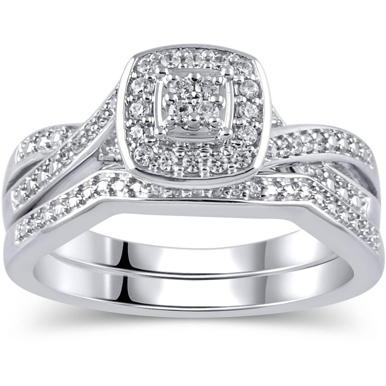 1/5 Carat T.W. Diamond Sterling Silver Bridal Set