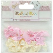 Trimcraft Belle & Boo II Mini Bows 16/Pkg-Satin Polka Dots/Light Yellow & Pink