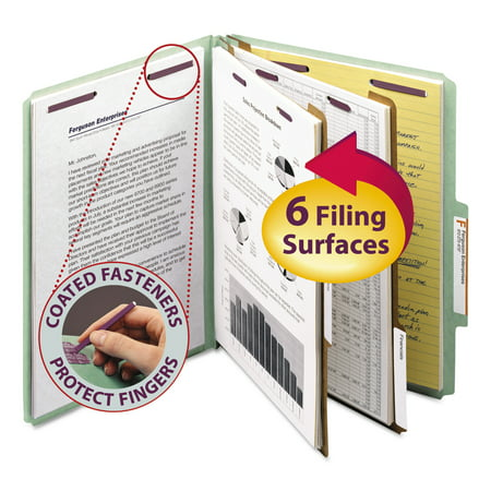 Six Section Pressguard Classification Folders - Smead Pressboard Classification Folders, Tab, Letter, Six-Section, Gray/Green, 10/Box -SMD14076