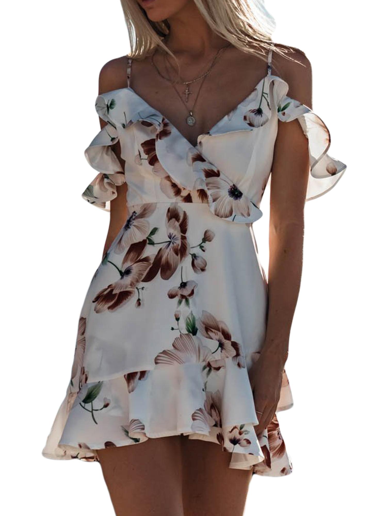 Summer Girls Kids Boho Dress Cold Shoulder Chiffon Beach Party Mini Sundress Hot
