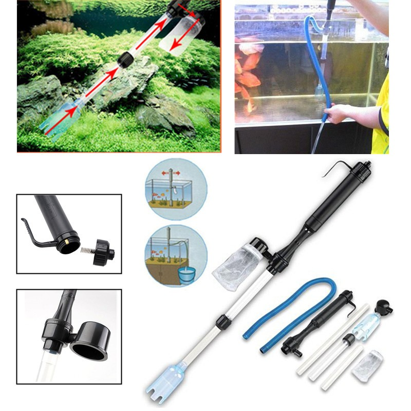 Auto Aquarium Gravel Battery Fish Tank Vacuum Siphon Cleaner Pump Water Filter by