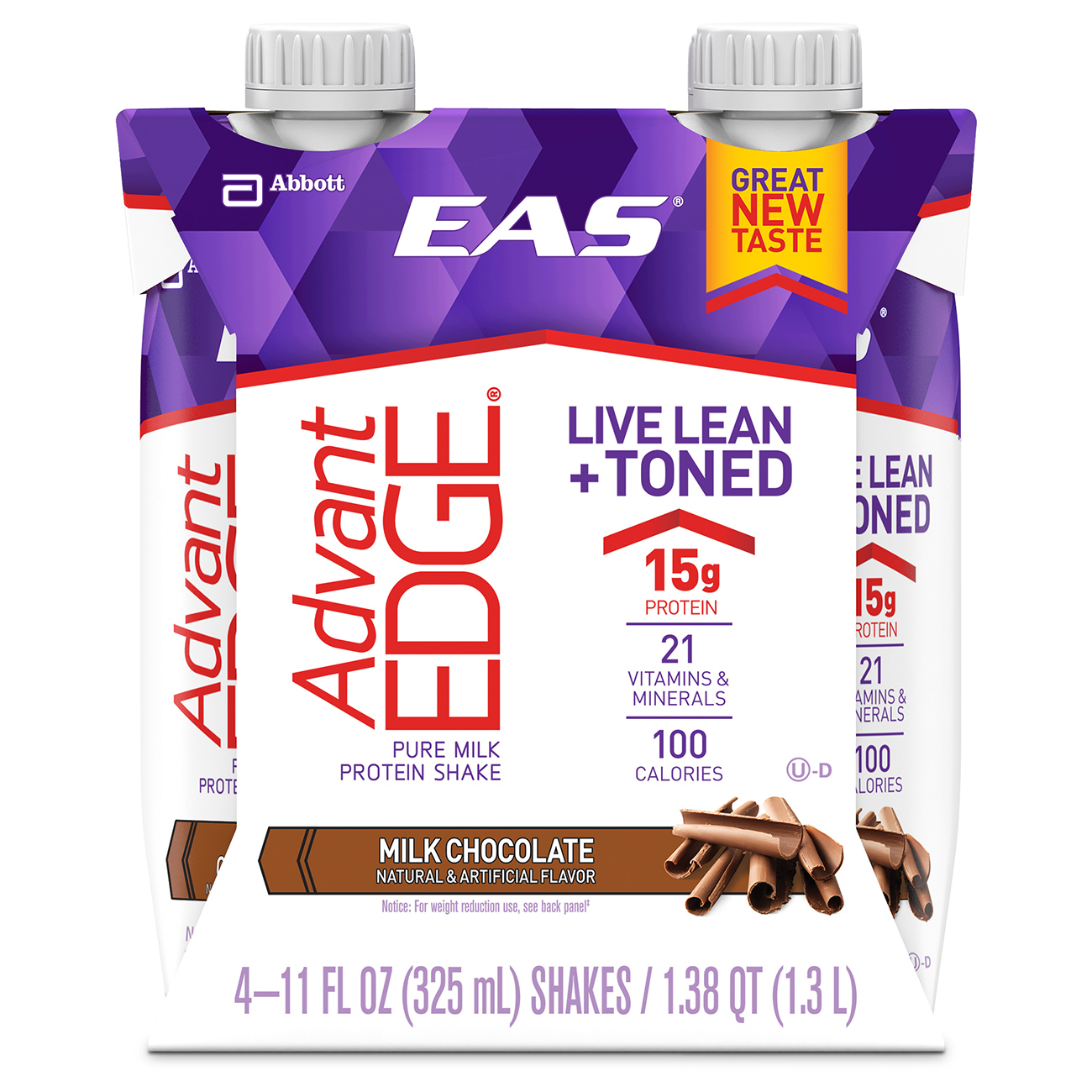 EAS AdvantEDGE Ready-to-Drink Protein Shake, Milk Chocolate, 11 fl oz (6-4 Packs)