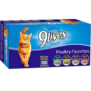 Image of 9 Lives Poultry Favorites Wet Cat Food Variety Pack, 5.5 oz