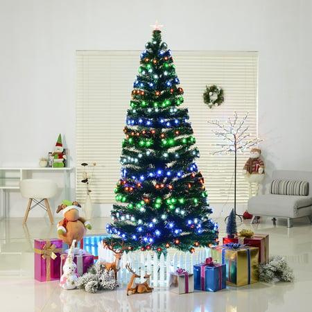 75 rotating artificial pre lit 280 led stars and fiber optic light up christmas - Light Up Christmas Tree