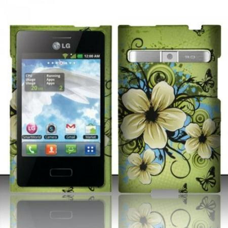 Hawaiian Flowers Design Snap (For LG Optimus Logic L35g / Dynamic L38c (StraightTalk/Net 10) Rubberized Design Snap-on Protector Hard Cover Case - Hawaiian Flowers, Brand New.., By Zizo,USA)