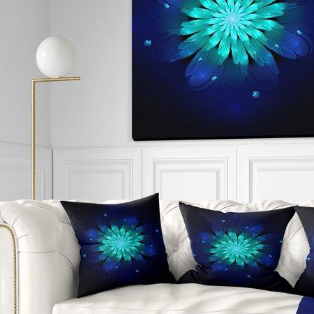 DESIGN ART Designart 'Fractal Flower Blue N Turquoise' Floral Throw Pillow