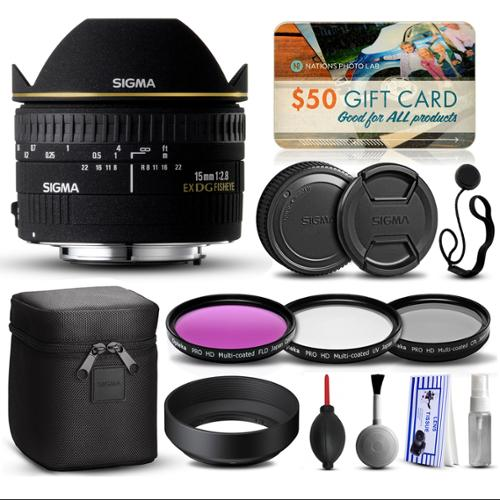 Sigma 15mm F2.8 EX DG Fisheye Lens for Nikon (476306) with Beginner Accessories Kit includes 3 Piece Filter Set (UV-CPL-FLD) + Deluxe Cleaning Kit + Air Dust Blower + Cap Keeper + $50 Prints Gift Card