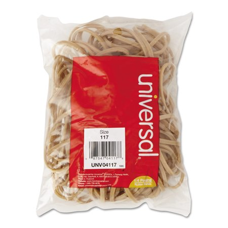 - (2 Pack) Universal Rubber Bands, Size 117, 7 x 1/8, 50 Bands/1/4lb Pack -UNV04117
