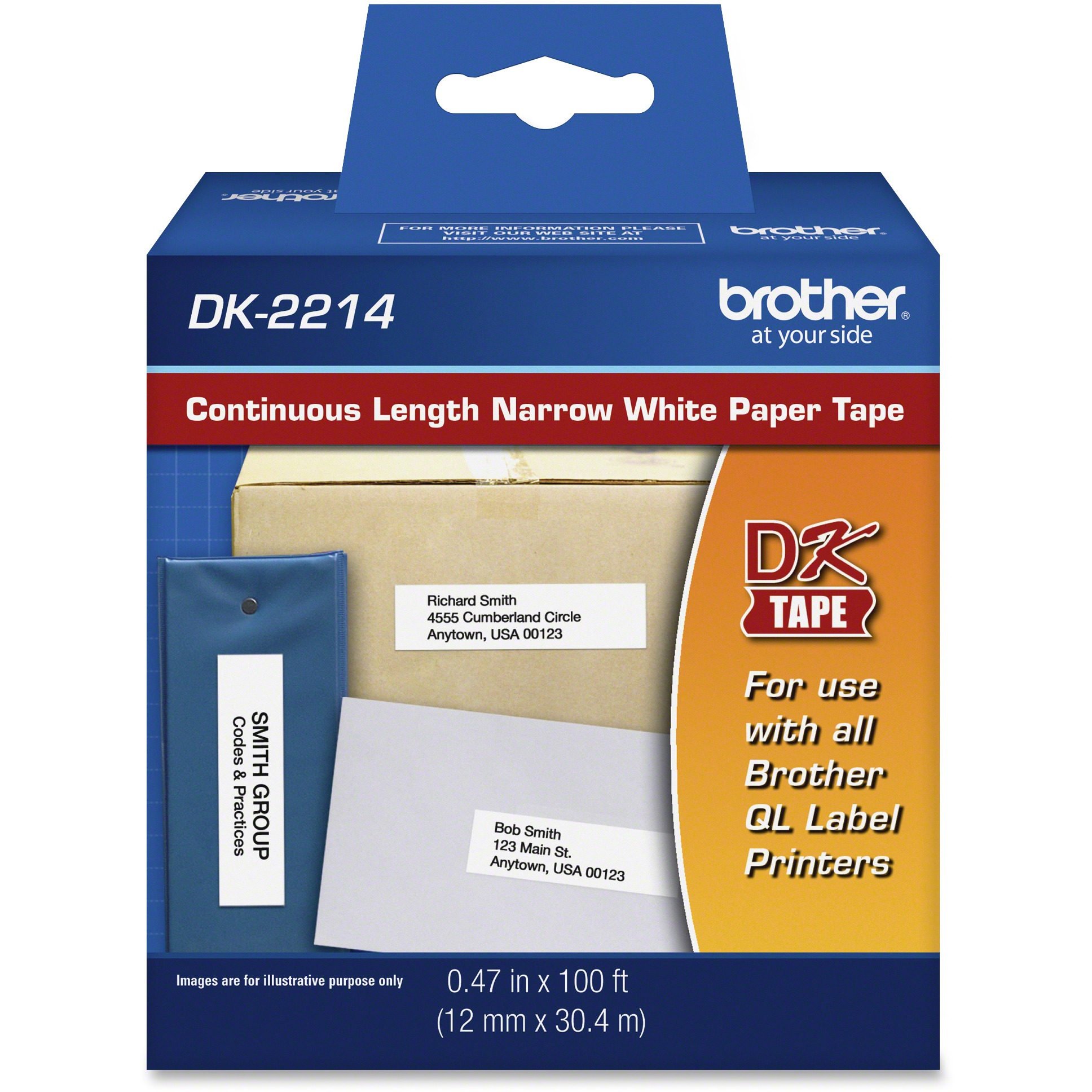 """Brother Continuous Paper Label Tape, 1/2"""" x 100 ft Roll, White"""