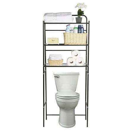 Accessories Rack Stand - Mind Reader 3 Tier Toilet Rack, Bathroom Organizer, Over the Toilet Unit, Bathroom Space Saver, Accessories Stand Storage Organizer, Black