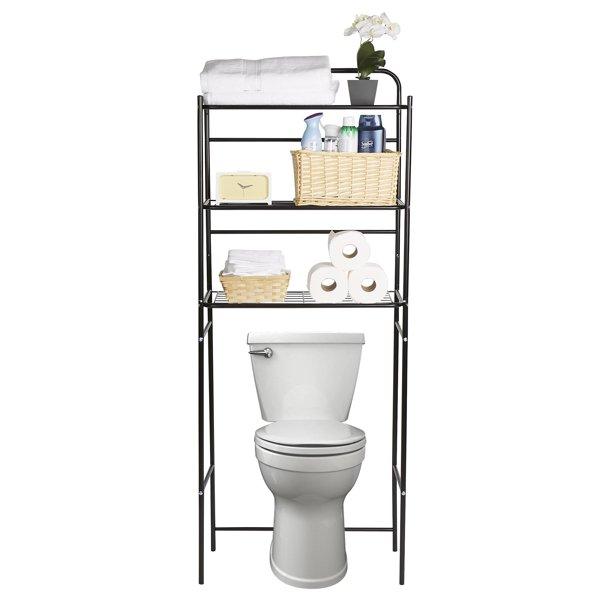 Mind Reader 3 Tier Over The Toilet Rack Bathroom Stand Accessory Organizer Black Walmart Com Walmart Com