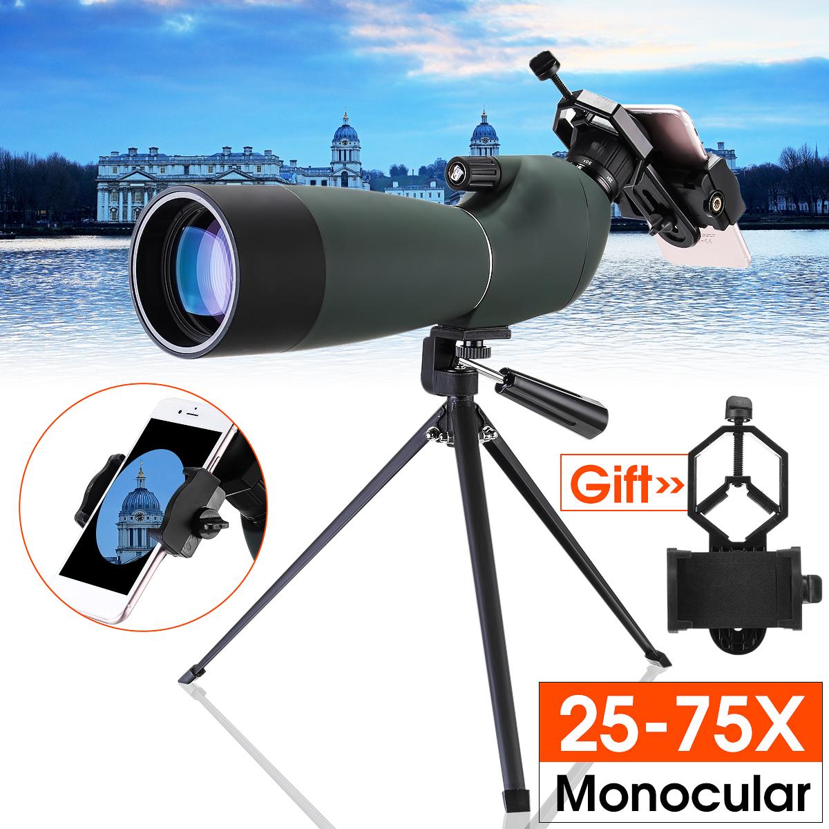 Day/Night Vision 25-75X70 Zoom HD Monocular Spotting Scope BAK4 Telescope with Tripod + Phone Adapter