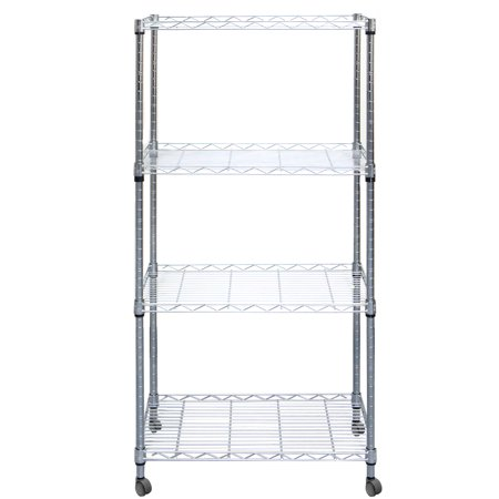 Mind Reader 4 Tier Adjustable Heavy Duty Metal Storage Rack Shelving Unit With Wheels, Silver (Metal Shelf Wheels)