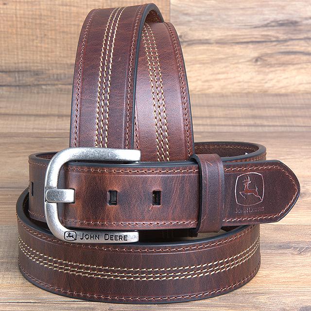 Sizes 32-46 John Deere Men/'s Brown Oil Tanned Genuine Leather Belt NEW