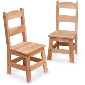 Melissa & Doug Solid Wood Table and 2 Chairs Set - Light Finish ...