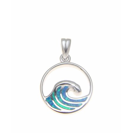 925 Sterling silver Hawaiian 15mm ocean wave blue synthetic opal pendant charm