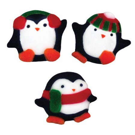 Penguin Assortment Christmas Sugar Decorations Toppers Party Favors Cookie Cupcake Cake 12 Count
