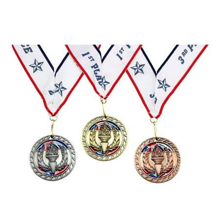 1st 2nd 3rd Place Vortex Award Medals - 3 Piece Set (Gold, Silver, Bronze) - Includes Ribbon - First Place Medal