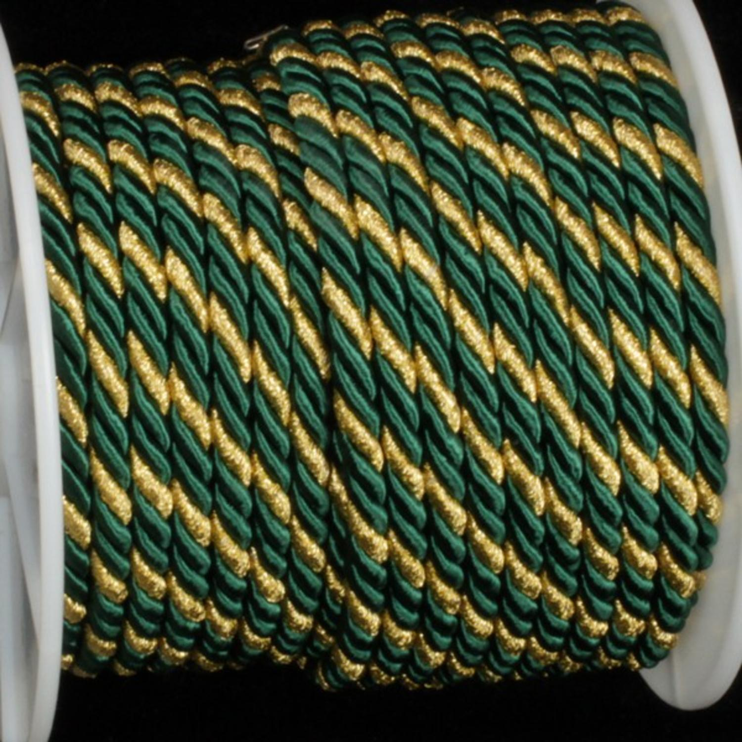 Hunter Green with Gold Braided Cording 8mm x 27 Yards