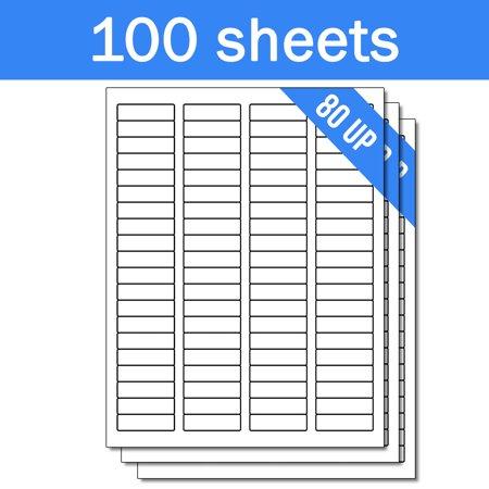 1.75 Inch Laser Labels - OfficeSmartLabels 1-3/4 x 1/2 inch Labels for Laser Inkjet ( 80 Labels Per Sheet, White, 100 Sheets )