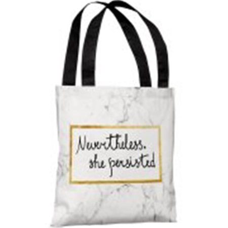 One Bella Casa 82991Tt18p 18 In  Nevertheless She Persisted Polyester Tote Bag  44  White