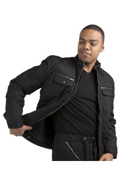 Vibes Men's Waterproof Coated Canvas Zip Up Padded Moto Jacket zipper pockets