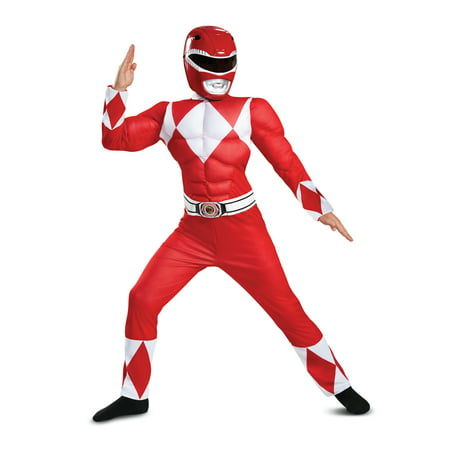 Cheerleading Uniforms For Halloween (Power Rangers Red Ranger Muscle Classic Child Halloween)