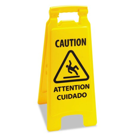 Caution Safety Sign For Wet Floors, 2-Sided, Plastic, 10 x 2 x 26, Yellow ()