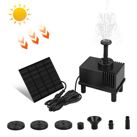 Power Filter Pump - Solar Fountain Pump with Filter, Solar Powered Bird Bath Fountain Pump 1.5W Solar Panel Kit Water Pump, Outdoor Watering Submersible Pump for Pond, Pool, Garden, Fish Tank, Aquarium