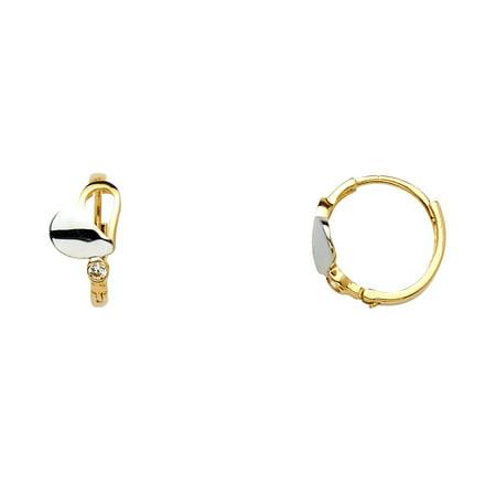 6b888b70e GemApex - CZ Heart Huggie Hoop Earrings Solid 14k Yellow White Gold Huggies  Love Hoops Round Fancy Small 10 mm - Walmart.com
