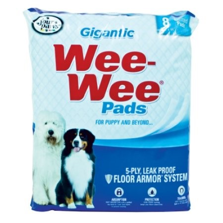 Four Paws Wee-Wee Pads Gigantic Puppy Housebreaking Pads, Pack of 8 Pads