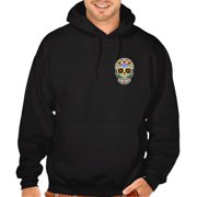 Men's Chest Sugar Skull Black Pullover Hoodie Sweater Large Black