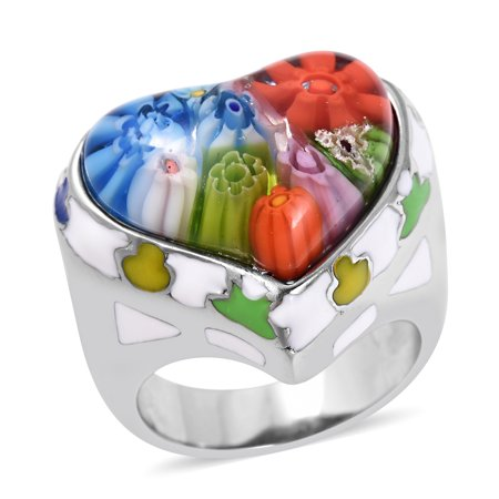 Cocktail Ring Stainless Steel Heart Multi Color Murano Millefiori Glass Enameled Size 9