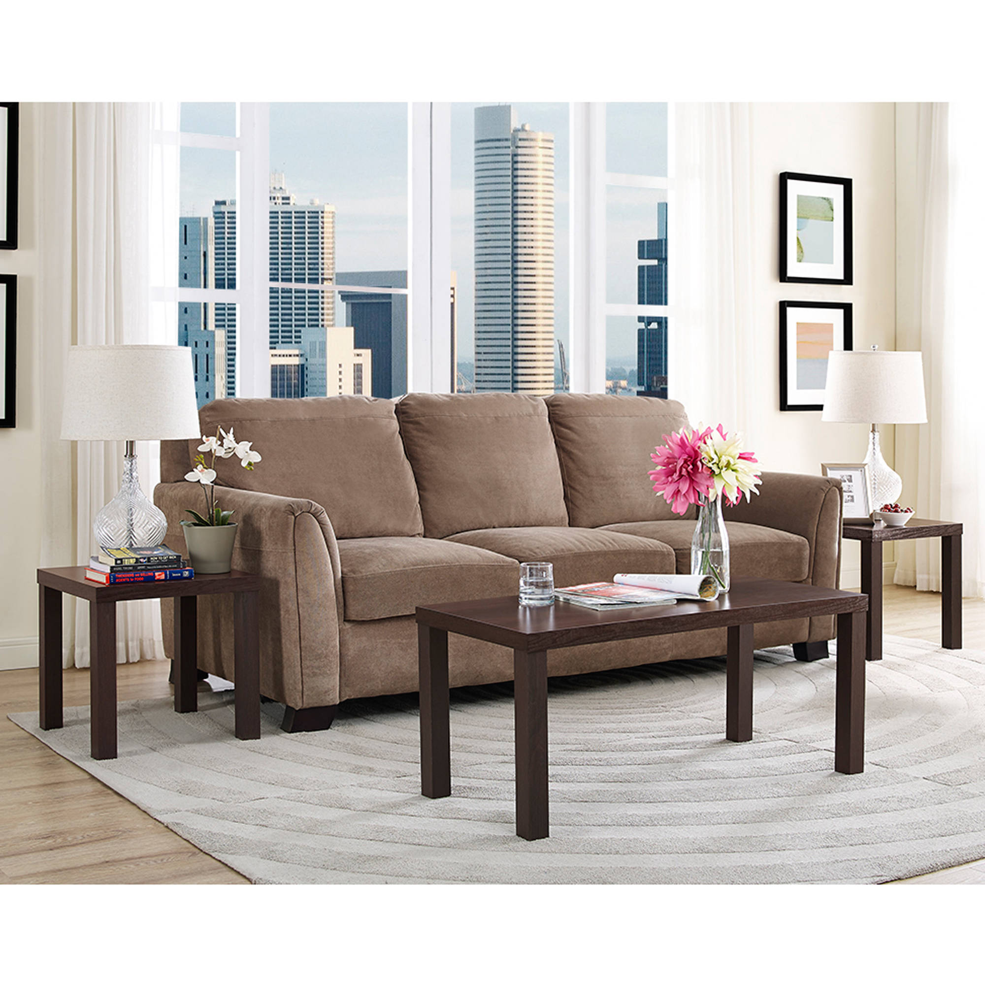 Living Room 3 Piece Table Sets walker edison 3-piece coffee table set - walmart