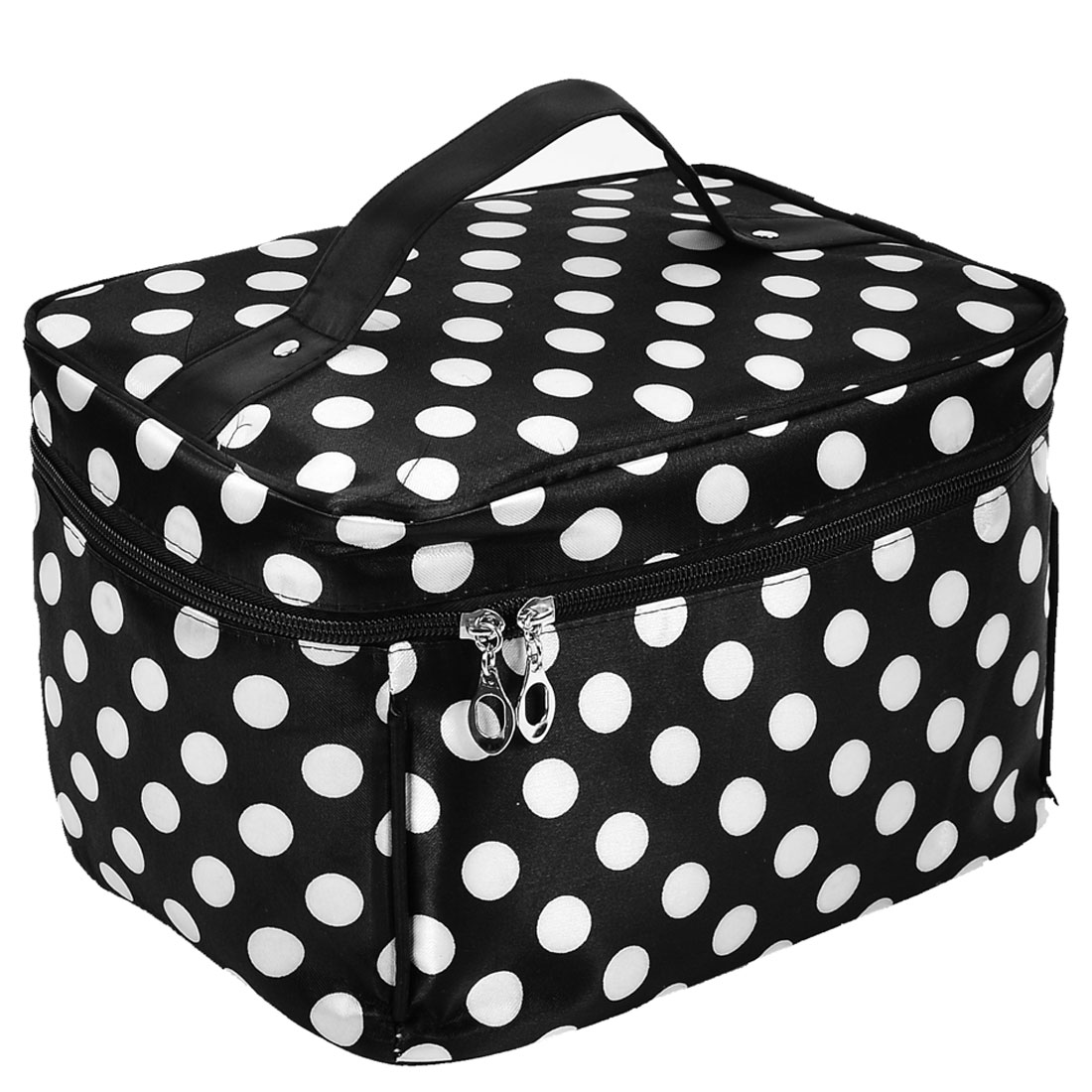 Women Zipper Dotted Dots Cosmetic Makeup Bag Holder White Black