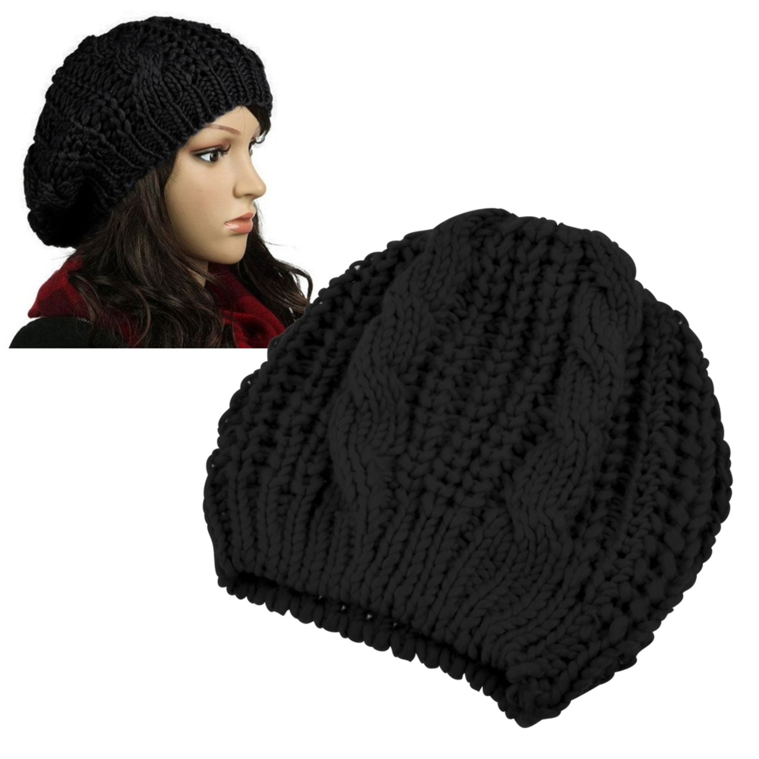 Zodaca Black Knit Beanie for Womens Mens Unisex
