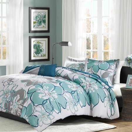 Blue & Gray Kelly Printed Duvet Cover Set (Twin/Twin XL)
