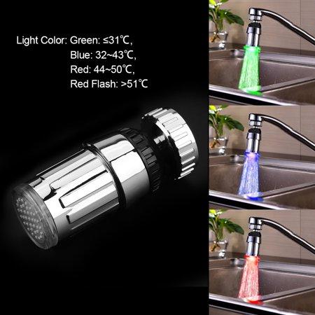 360 Swivel Water Ed 3colors Led Light Kitchen Sink Faucet Spray Head Sprayer