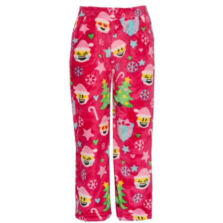 Boutique Christmas Pajamas (Candy Pink Little Girls Red Christmas Emotican Mixed Print Pajama)