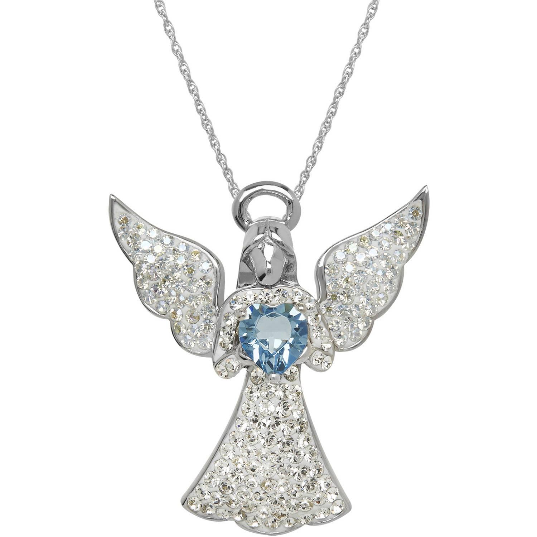 Luminesse swarovski element sterling silver angel pendant 18 luminesse swarovski element sterling silver angel pendant 18 aloadofball Image collections
