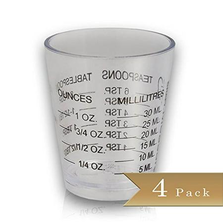 Pack Of 4   Bar Mini Measurer   Plastic Shot Glasses   1 Oz   6 Tsp   2 Tbs   30 Ml