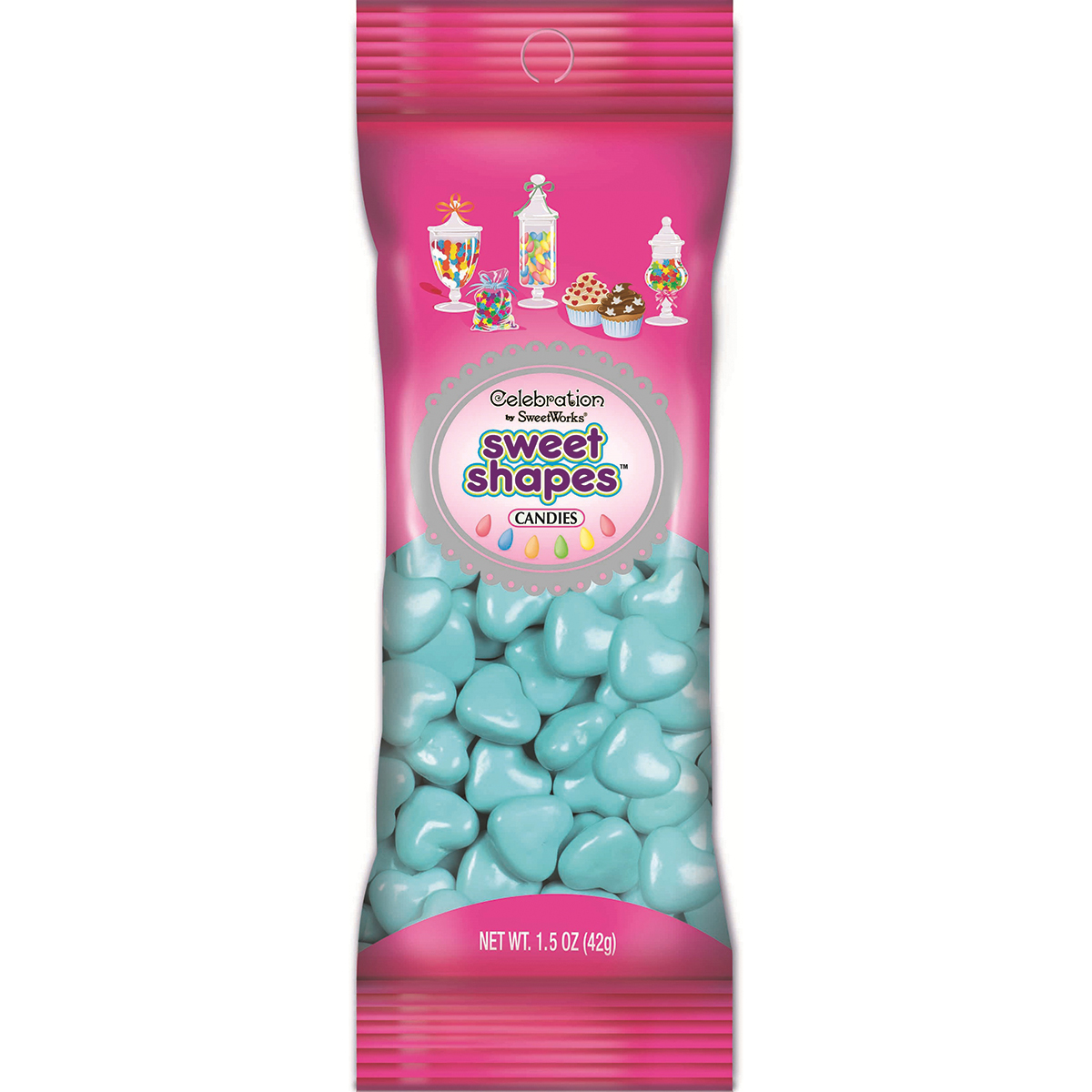 Celebrations By SweetWorks Sweet Shapes(TM) 1.5oz-Light Blue Hearts