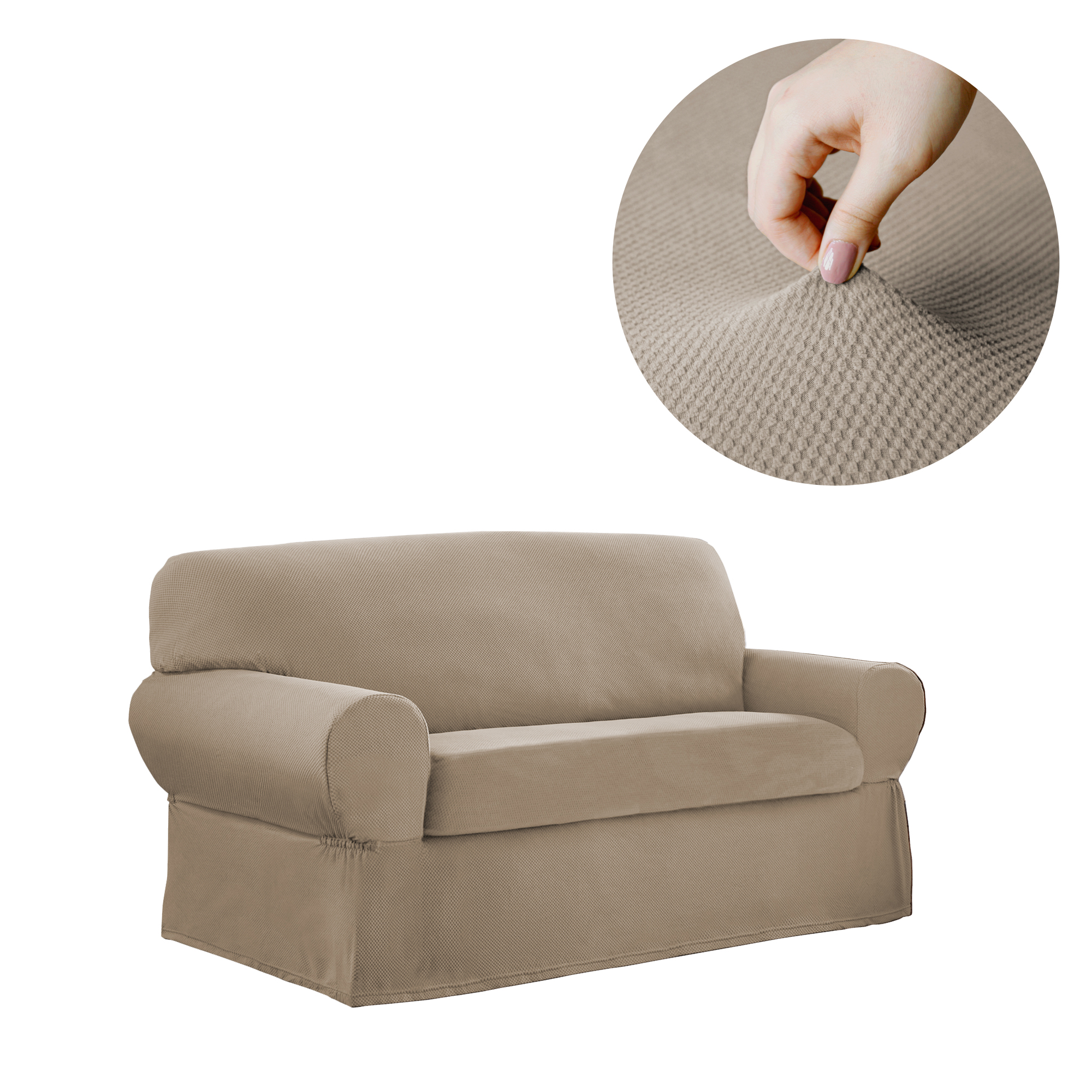 Mainstays Stretch Pixel 2 Piece Loveseat Furniture Cover Slipcover