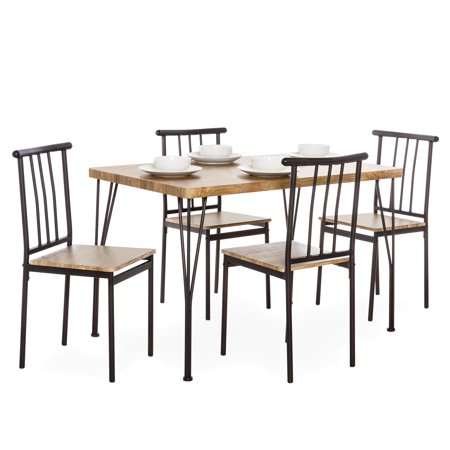Best Choice Products 5-Piece Metal and Wood Indoor Modern Rectangular Dining Table Furniture Set for Kitchen, Dining Room, Dinette, Breakfast Nook w/ 4 Chairs, Brown ()