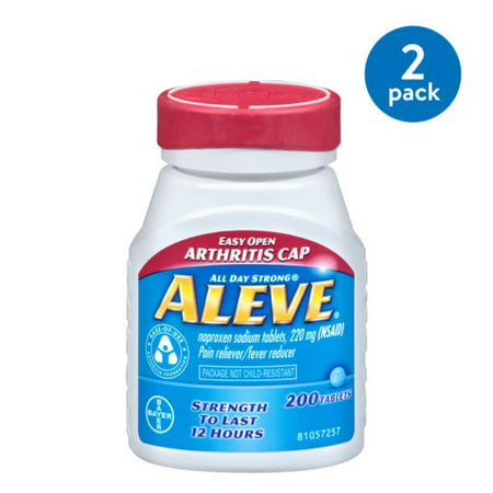 (2 Pack) Aleve Easy Open Arthritis Cap Pain Reliever/Fever Reducer Naproxen Sodium Tablets, 220 mg, 200