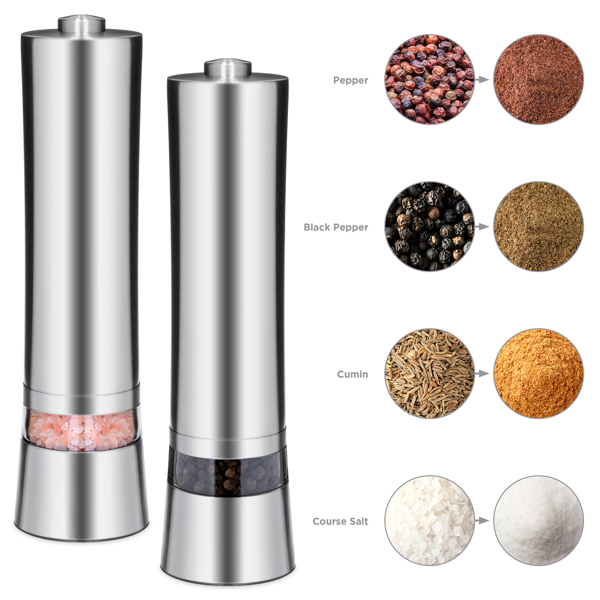 Best Choice Products Set of 2 Stainless Steel Adjustable Pepper Mill Electronic Salt, Pepper, Spice Grinder... by Best Choice Products